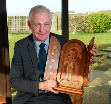 Fionnbar Walsh, from Tralee, with a wooden icon which will be presented to the parish in Listowel to commemorate his grand-uncle, Fr Michael Morrison. Photo By : Domnick Walsh © Eye Focus LTD ©