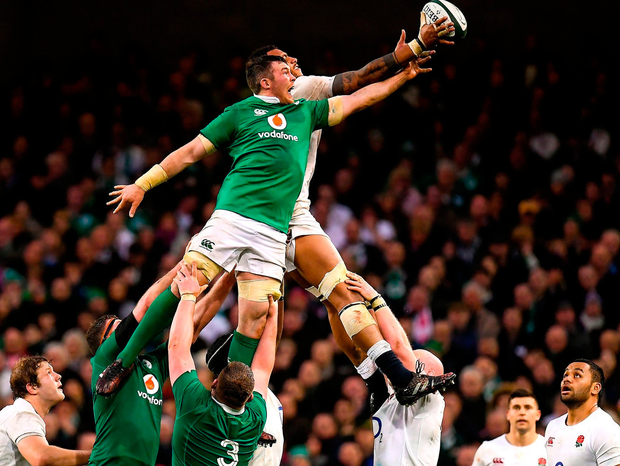Peter O'Mahony challenges Courtney Lawes in a lineout during last year's Six Nations clash at the Aviva Stadium. Photo by Brendan Moran/Sportsfile