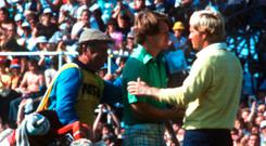 Tom Watson and Jack Nicklaus shake hands on the 18th after the 1977 Open Championship when Nicklaus said with a smile: 'Tom, I gave it my best shot but it wasn't good enough'. Photo: Allsport