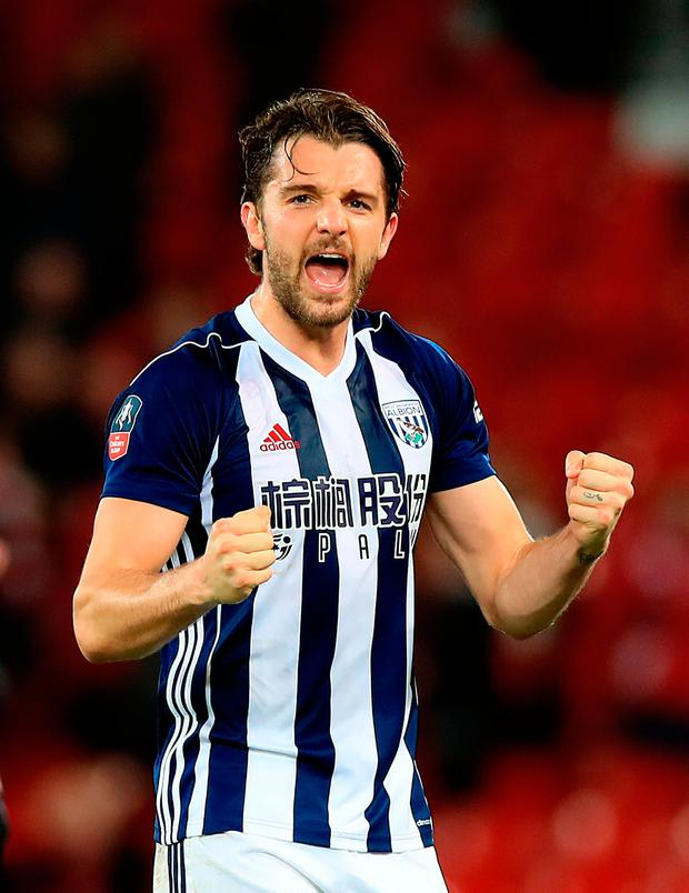 West Bromwich Albion's Jay Rodriguez celebrates after the final whistle. Photo: Peter Byrne/PA