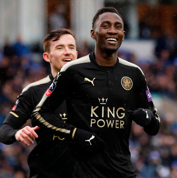 Leicester City's Wilfred Ndidi celebrates scoring his side's fifth goal with team mates. Photo: Darren Staples/Reuters
