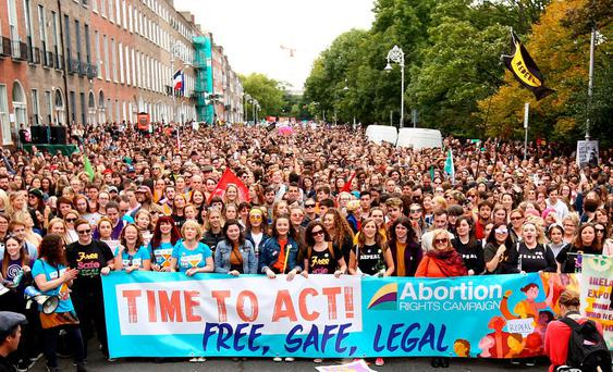 Repeal the 8th march showing demonstrators at the rally on Merrion Square. Photo: Gerry Mooney
