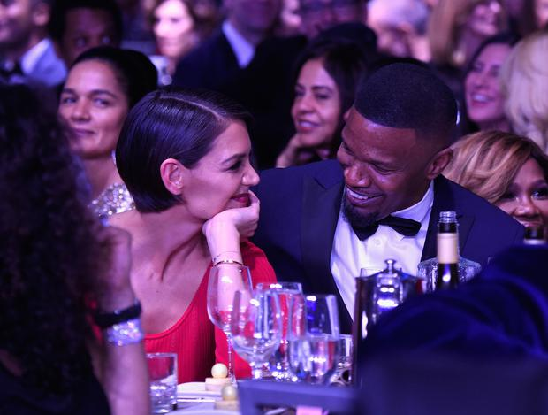 Katie Holmes and Jamie Foxx attend the Clive Davis and Recording Academy Pre-GRAMMY Gala and GRAMMY Salute to Industry Icons Honoring Jay-Z on January 27, 2018 in New York City. (Photo by Kevin Mazur/Getty Images for NARAS)