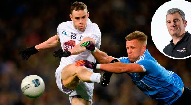 Cathal McNally of Kildare has his shot blocked down by Jonny Cooper and (inset) James Horan