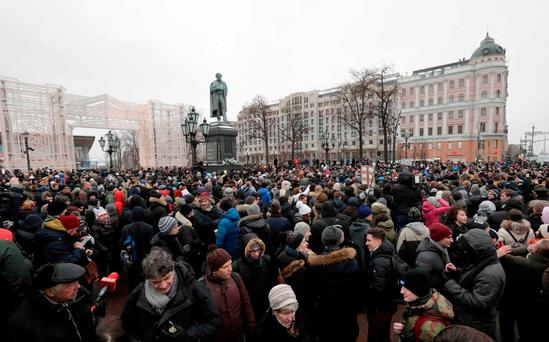 People gather in a square during a rally, held by supporters of Russian opposition leader Alexei Navalny for a boycott of a March 18 presidential election, in Moscow January 28, 2018. REUTERS/Tatyana Makeyeva