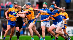 David Fitzgerald of Clare in action against Tom Fox of Tipperary