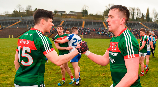 Cillian O'Conor, right, and Conor Loftus of Mayo congratulate each other following their side's victory over Monaghan