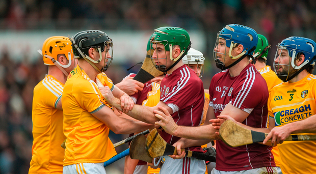Players from both sides involved in a scuffle during the Allianz Hurling League Division 1B Round 1 match between Galway and Antrim at Pearse Stadium