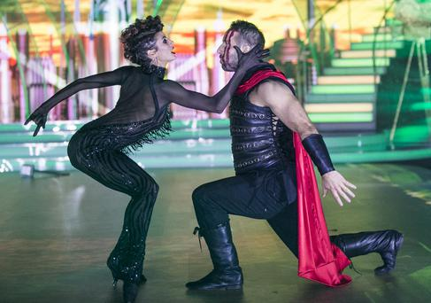 Former Rugby Player Tomás O'Leary and Giulia Dotta ,during the Fourth Live show of RTE's Dancing with the Stars. kobpix