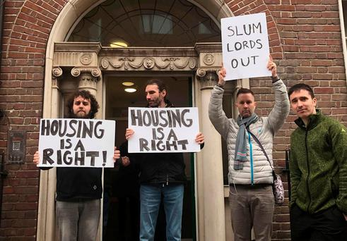 Protesters outside the property in Dublin