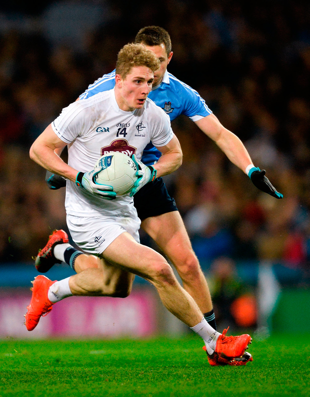 Daniel Flynn of Kildare in action against Dean Rock of Dublin. Photo by Piaras Ó Mídheach/Sportsfile