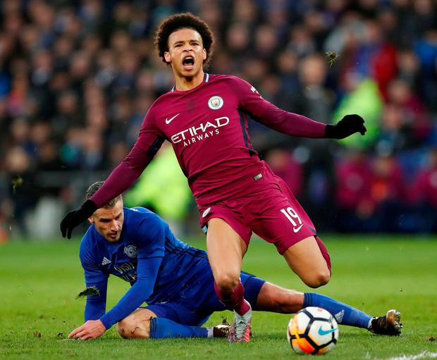 Manchester City's Leroy Sane is fouled by Cardiff City's Joe Bennett. Photo: Andrew Boyers/Action Images via Reuters