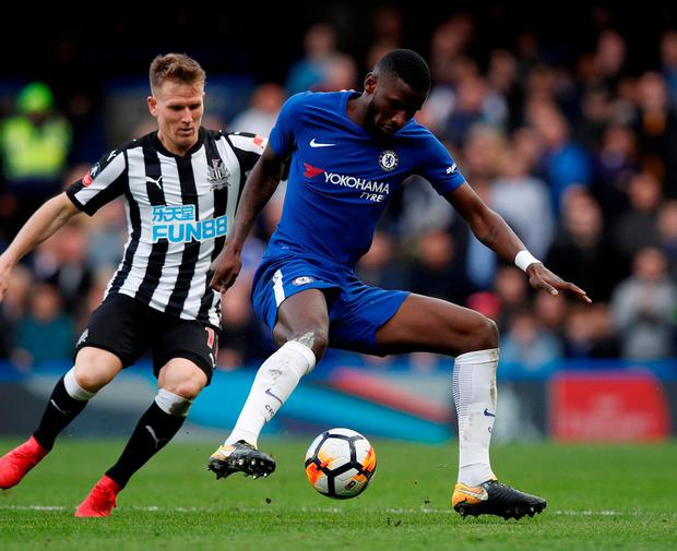 Newcastle United's Matt Ritchie in action with Chelsea's Antonio Rudiger. Photo: Eddie Keogh/Reuters