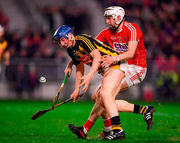 Kilkenny's John Donnelly in action against Cork's Tim O'Mahony. Photo: Stephen McCarthy/Sportsfile