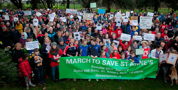 Some of the hundreds of concerned people who turned out to protest against development plans for St Anne's Park, Raheny