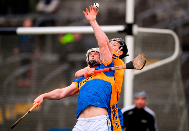 Michael Breen of Tipperary in action against Jack Browne of Clare. Photo by Stephen McCarthy/Sportsfile