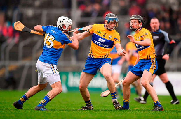 David McInerney of Clare in action against Patrick Maher of Tipperary. Photo by Stephen McCarthy/Sportsfile