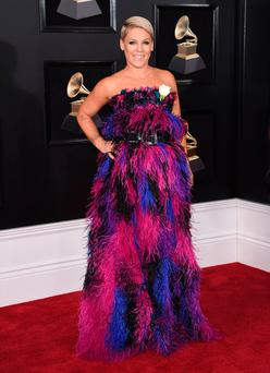Pink arrives at the 60th annual Grammy Awards at Madison Square Garden on Sunday, Jan. 28, 2018, in New York. (Photo by Evan Agostini/Invision/AP)