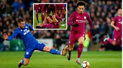 Manchester City's Leroy Sane is fouled by Cardiff City's Joe Bennett