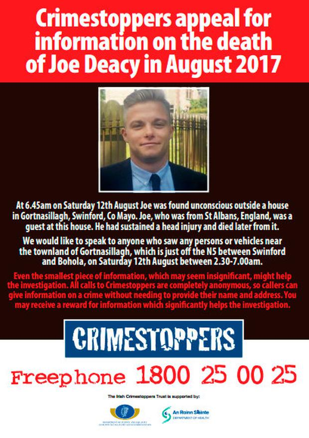 Crimestoppers are appealing for information about the death of tourist Joe Deacy