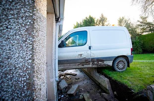 The scene of where a van crashed into a house (Photo by Kevin Scott / Belfast Telegraph)