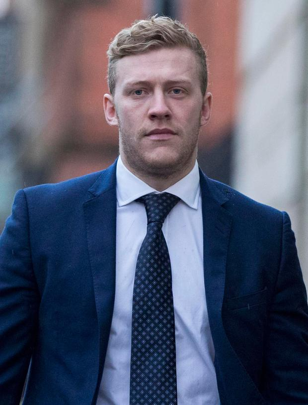 Ireland and Ulster rugby player Stuart Olding arrives at Belfast Crown Court where he and his teammate Paddy Jackson are on trial accused of raping a woman at a property in south Belfast in June 2016. Photo: Liam McBurney/PA Wire