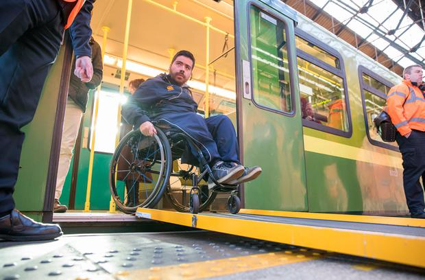 Disability activist Sean O'Kelly from Dalkey, Co Dublin, who found himself stranded on the Dart yesterday when no ramp was available at Connolly Station. Picture: Paul Sharp