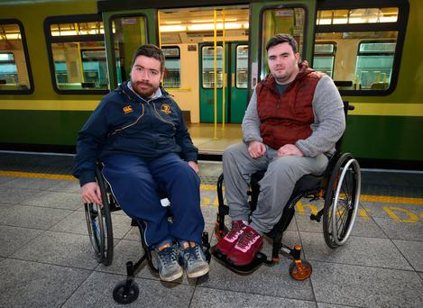 Liam Daly (20) right, from Navan road, Dublin and Sean O'Kelly (25) from Dalkey at the launch of the DART Improved Accessibility Pilot at Connolly Station. Photo: Damien Eagers