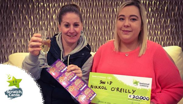 Nikkol OReilly (right) collects her second scratch card prize in just a matter of months. The lucky Cavan woman was accompanied in the National Lottery Winners Room by her best friend, Anne-Marie (Buffy) OConnell.