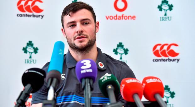 Robbie Henshaw during an Ireland rugby squad press conference at Carton House in Maynooth, Co Kildare. Photo by Matt Browne/Sportsfile