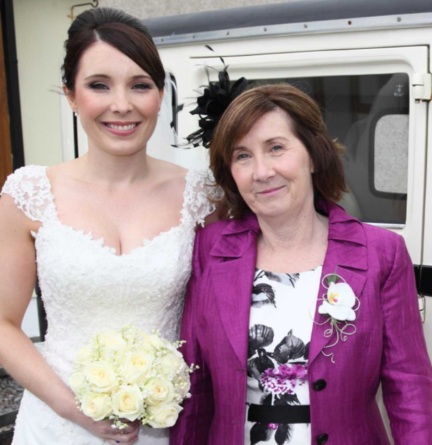 Laura Reid with her mother Nora on her wedding day.