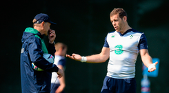 17 September 2015; Ireland's Darren Cave, right, in conversation with head coach Joe Schmidt during squad training. Sophia Gardens, Cardiff, Wales. Picture credit: Brendan Moran / SPORTSFILE