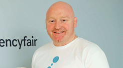 Former Irish front-row Bernard Jackman speaking during a visit to the offices of CurrencyFair in Dublin. Photo: Robbie Reynolds