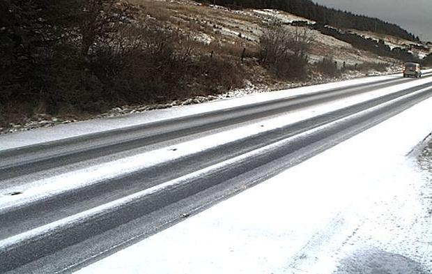 Snow on the N15 in Donegal in January