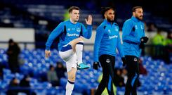 Soccer Football - Premier League - Everton vs Leicester City - Goodison Park, Liverpool, Britain - January 31, 2018 Everton's Seamus Coleman, Ashley Williams and Cenk Tosun during the warm up Action Images via Reuters/Carl Recine