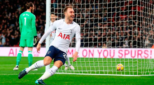 Tottenham Hotspur's Christian Eriksen celebrates scoring his side's first goal of the game during the Premier League match at Wembley Stadium, London. PRESS ASSOCIATION Photo. Picture date: Wednesday January 31, 2018. See PA story SOCCER Tottenham. Photo credit should read: Adam Davy/PA Wire.