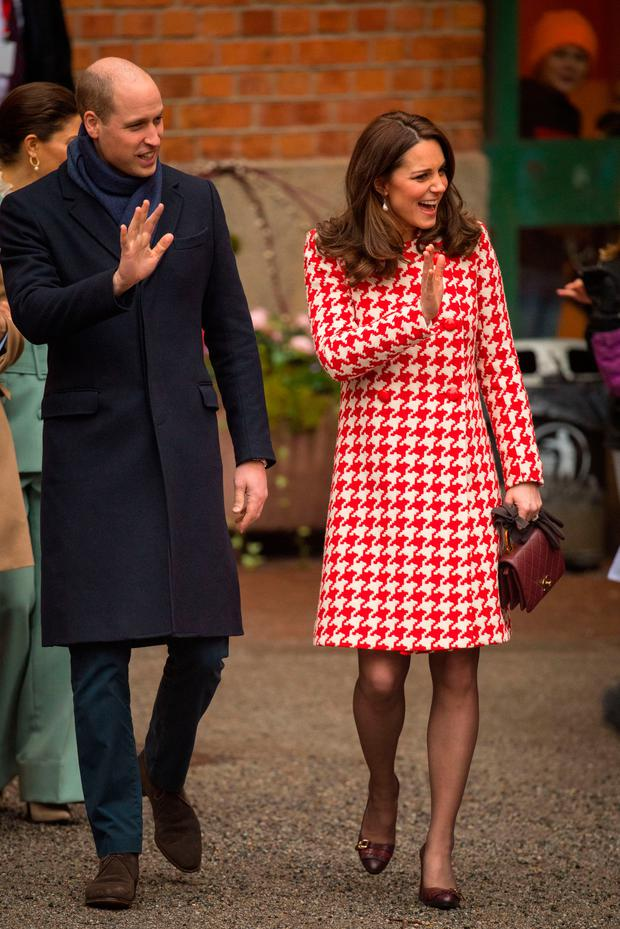 The Duke and Duchess of Cambridge depart following a visit to the Matteusskolan School in Stockholm on Day 2 of their visit to Sweden. Photo: Dominic Lipinski/PA Wire