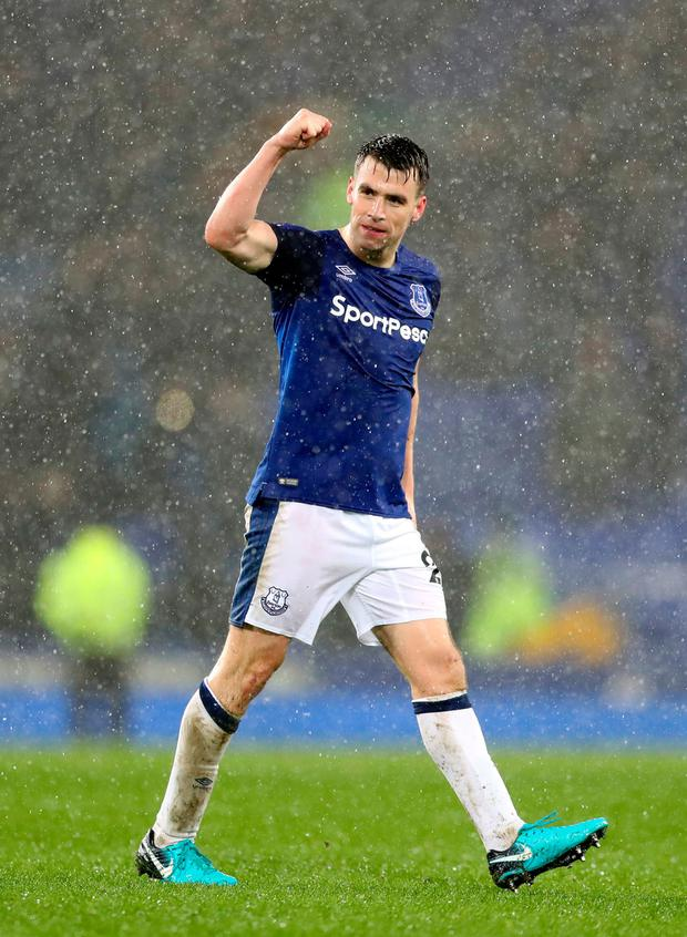 Seamus Coleman punches the air after making a winning return with Everton. Photo: Getty