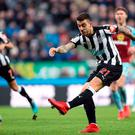 Newcastle United's Joselu shoots. Photo: Owen Humphreys/PA Wire
