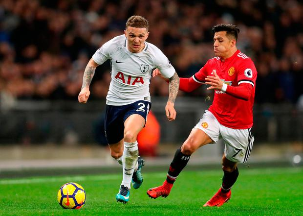 Tottenham Hotspur's Kieran Trippier (left) and Manchester United's Alexis Sanchez battle for the ball. Photo: Adam Davy/PA Wire