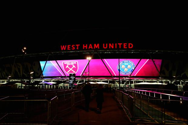LONDON, ENGLAND - JANUARY 16: A general view outside the stadium prior to The Emirates FA Cup Third Round Replay match between West Ham United and Shrewsbury Town at London Stadium on January 16, 2018 in London, England. (Photo by Catherine Ivill/Getty Images)