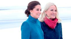 Catherine, Duchess of Cambridge is greeted by Crown Princess Mette-Marit of Norway as she arrives to Oslo Gardermoen Airport on day 3 of her visit to Sweden and Norway on February 1, 2018 in Oslo, Norway. (Photo by Chris Jackson/Chris Jackson/Getty Images)
