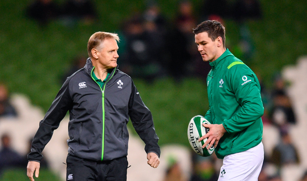 Ireland head coach Joe Schmidt and Jonathan Sexton