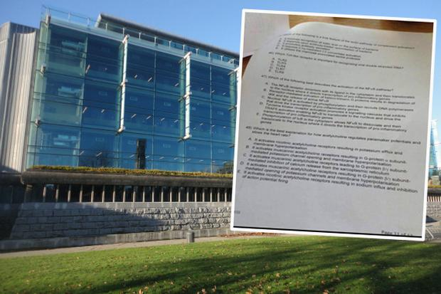 University College Dublin and inset, one of the images circulated before the exam