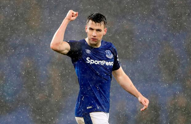 Everton's Seamus Coleman celebrates after the match