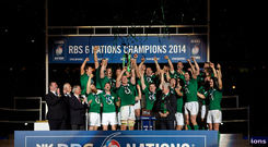 Ireland captain Paul O'Connell lifts the RBS Six Nations Rugby Championship 2014 trophy