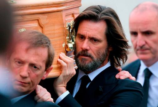 Carrey was a pallbearer at her funeral. Photo: PA