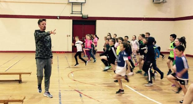 Dermot McDermott putting pupils of Colaiste Mhuire through their paces in Ballymote, Co Sligo