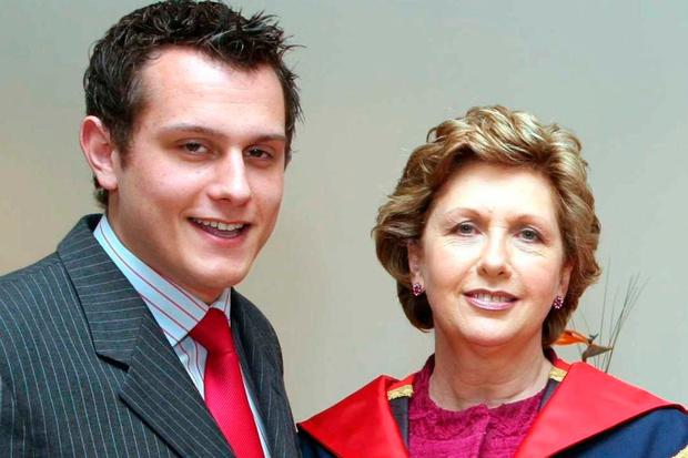 Former president Mary McAleese with son Justin