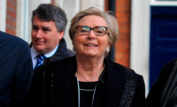 Former Tánaiste Frances Fitzgerald arrives at the Disclosures Tribunal at Dublin Castle yesterday. Photo: Gareth Chaney, Collins